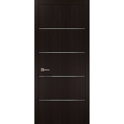 Planum 0020 Interior Modern Flush Solid Pre-Hung Door Brown Wenge with Frames