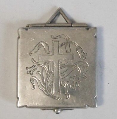 Nice Large Antique Vintage Sterling Silver Locket With Engraved Cross