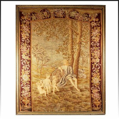 """HUGE 33"""" x 26.5"""" C 1830s Antique French Needlepoint, Petitpoint Tapestry, Frame"""