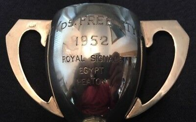 vintage 1952 Royal Signals silver plate swimming trophy, loving cup, trophies