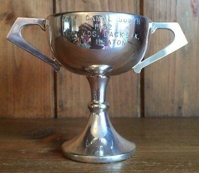 vintage 1952 RAF Canal South silver plate swimming trophy, loving cup, trophies