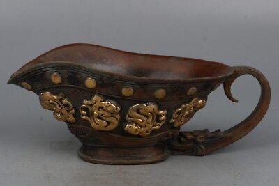 Chinese Exquisite Handmade brave troops pattern Copper gilt Cup