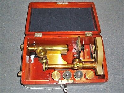 Antique Brass Bausch & Lomb Microscope With Original Wooden Case, Key and Lenses