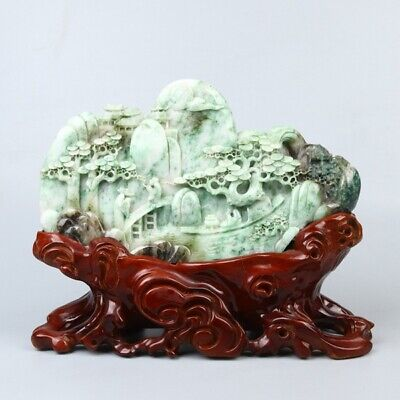 Exquisite Chinese hand-carved pine Natural landscape carving Dushan jade statue