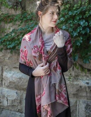 Victorian Trading Co Autumn Roses Taupe & Pink Scarf or Wrap