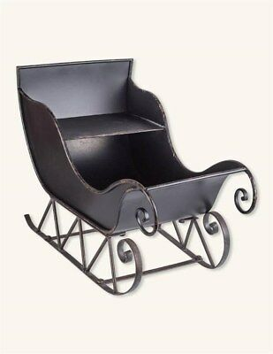 Victorian Trading Co Currier & Ives Christmas Sleigh Black Metal