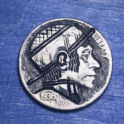 Hobo Nickel Coin Art 1936 Full Date Real Hand Carved