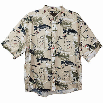 North River Outfitters Fishing Poles Lures Men's Button Down Short Sleeve  XXL