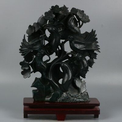 Chinese Exquisite Hand-carved Birds and flowers carving Agate statue