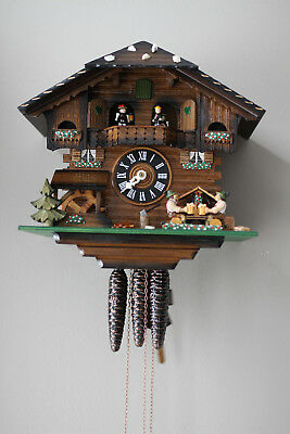 HONES 1-Day Beer Drinkers Animated/Musical Black Forest CHALET Cuckoo Clock NICE