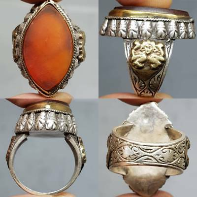 Old Rare Agate Stone Silver Beautiful Unique Ancient  Ring    # 3U
