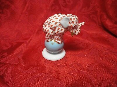 Porcelain Herend Elephant Figurine-RUST FISHNET-Blue Ball with Stars-Hungary