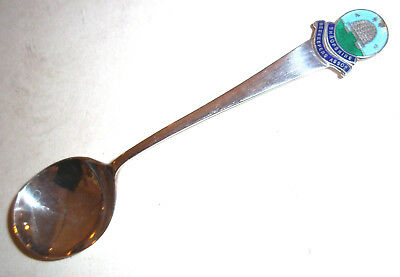 Solid Silver & Enamel Honey Spoon -Shropshire Beekeepers assn- assay sheff 1934