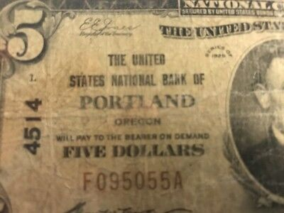 1929 $5 NATIONAL BANK NOTE Portland, OR OREGON Type 1 Charter #4514