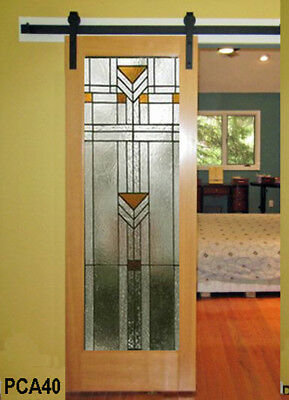 Barn interior Stained Glass Full lite Door PCA 40