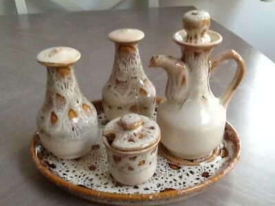 Fosters Pottery Ltd., Redruth Cornwall Cruet Set And Tray