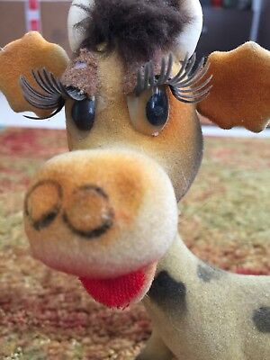 vintage flocked Cow Figure Comical Retro Long Eyelashes Kitchsy Dairy Cow Fur