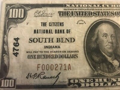 ULTRA RARE 1929 $100 Charter 4764 SOUTH BEND, IN INDIANA Serial #271