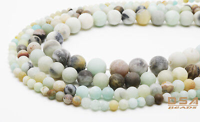 Matte Natural Colorful Amazonite Round Gemstone Frosted Loose Beads 4,6,8,10mm