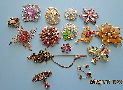 Vintage Lot of Rhinestone Brooches 15 Pretty Brooches Florenza Large Stick Pin