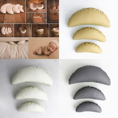 UK_ 3Pcs Baby Newborn Crescent Shape Pillow Cushion Posing Photography Props Hot