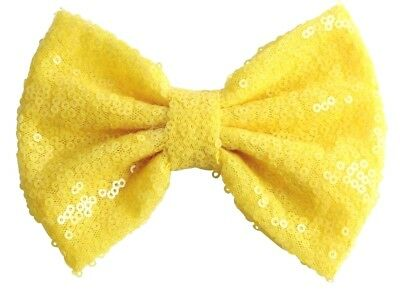 Messy Sequins dazzling Bow Hair Clip(Lemon)