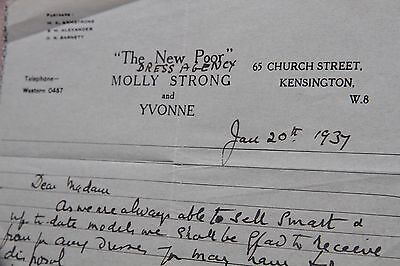 1937 letter The New Poor Dress Agency - Kensington - Molly Strong & Yvonne Vogue
