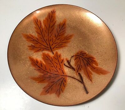 Vintage Annemarie Davidson Enamel on Copper Tray Oak Leaves Design 6""