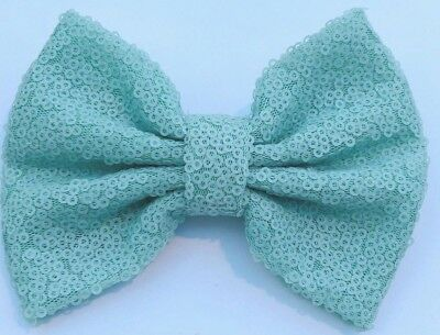 Messy Sequins  Bow Hair Clip(Mint Green )