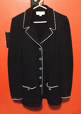 St John Collection Marie Gray Black Santana Knit Suit Jacket Belted Back Sz 10