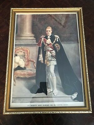 His Majesty King Edward VIII in Garter Robes Framed Photographic Reproduction
