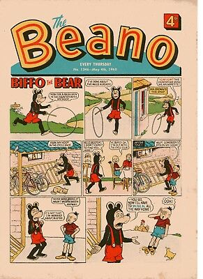 Beano Comic # 1346 May 4th 1968 w/ Paper Puppet Biffo Dennis The Menace