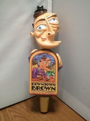 """New Old Style Lost Coast Downtown Brown Picasso Man 8"""" Draft Beer Keg Tap Handle"""