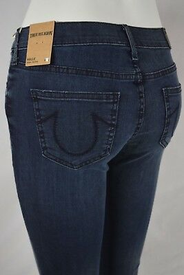 True Religion HALLE Super SKINNY Mid Rise Jeans Women 24 KEPT PROMISES DARK BLUE
