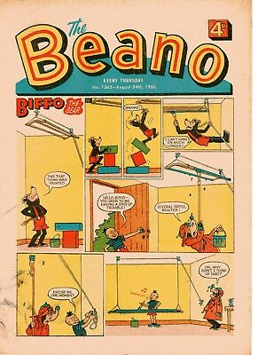 Beano Comic # 1362 August 24th 1968 w/ Paper Puppet Biffo Dennis The Menace