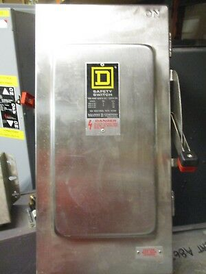 Square D Hu363Ds, Ser. E, 100 Amp 600V Stainless Steel Disconnect- New