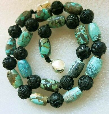 Vintage Antique Chinese Carved Natural Turquoise Blak Jet Shou 925 Necklace 19""