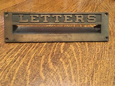 "VINTAGE SOLID BRASS ""LETTERS"" DOOR MAIL SLOT, 10 3/8"" x 3"" Embossed PASS-THRU."