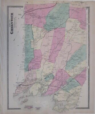 Original 1867 Hand Colored Map GREENWICH Fairfield County Connecticut Cos Cob