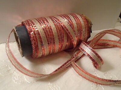 """Vintage French Woven Metallic Tinsel Ribbon 1930's Red/Silver 1/2"""" Wide BTY"""