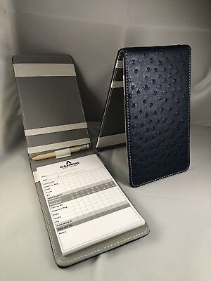 Tour Issue Ostrich Leather Scorecard Holder Navy/Grey New