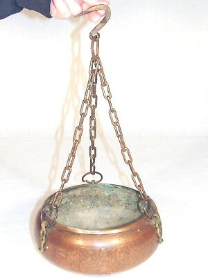 Vintage Hanging Copper Planter Cauldron Pot Pan Basket Medieval Primitive Garden