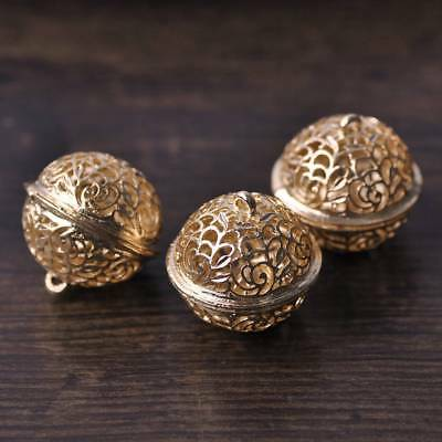 5pcs 26*25mm Hollow-Out Gold Floral Metal Small Bell  Decorative Findings