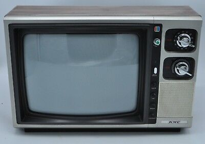 Vintage KMC Television Model KMC 1365G. 1984 Retro Mid Century Wood Grain TV