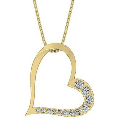 Love Of Heart Pendant Necklace SI1 H 0.35Ct Genuine Diamond Yellow Gold Pave Set