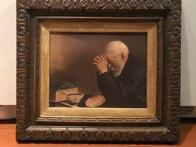 GRACE by Eric Enstrom 17x21 Old Man Praying Dinner Table FRAMED WALL ART PICTURE