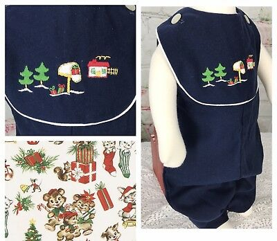 Vintage 3T Christmas Boys Blue Jumper Home For The Holidays Made USA
