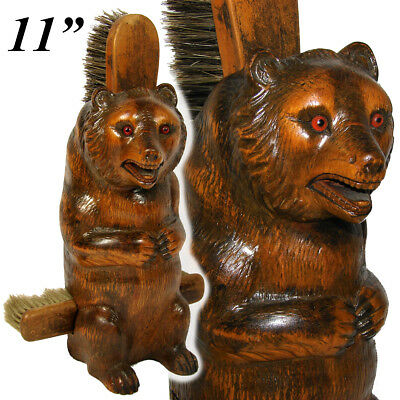 """Antique Victorian Era Black Forest Carved 11"""" Seated Bear, a Clothes Brush Caddy"""