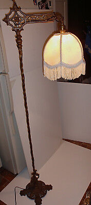 Excellent Working Antique Paw Footed/ Bird Head Bridge Arm Floor Lamp & Shade