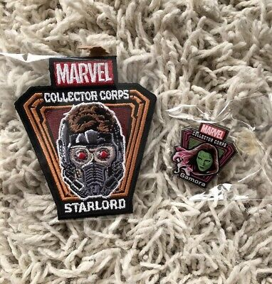 Marvel Collector Corps Guardians Of The Galaxy Starlord Gamora Patch & Pin Funko